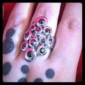 Jewelry - Sterling sliver cocktail ring, black gems 🖤💍
